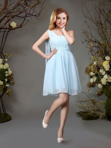 One Shoulder Light Blue Sleeveless Mini Length Beading and Ruching Zipper Quinceanera Court Dresses