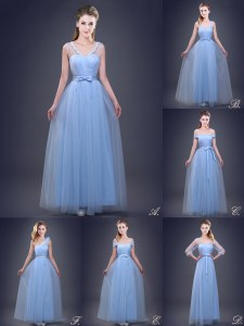 Light Blue Quinceanera Court Dresses Prom and For with Beading and Appliques and Ruching and Bowknot and Hand Made Flower Sleeveless Lace Up