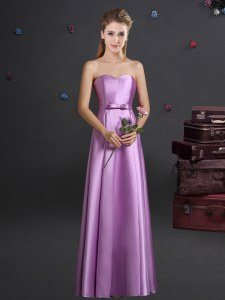 Pretty Lilac Empire Elastic Woven Satin Sweetheart Sleeveless Bowknot Floor Length Zipper Wedding Party Dress