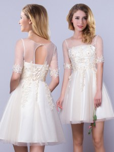 Scoop Half Sleeves Lace Up Mini Length Appliques Quinceanera Dama Dress