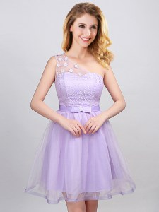 High Class A-line Dama Dress Lavender One Shoulder Tulle Sleeveless Mini Length Lace Up