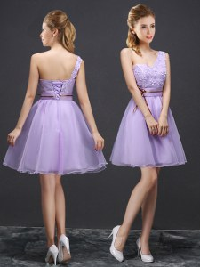 Elegant One Shoulder Mini Length Lace Up Damas Dress Lavender for Prom and Party and Wedding Party with Lace