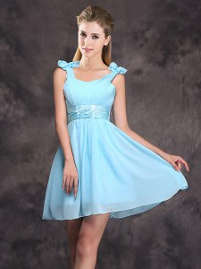 Straps Ruching and Bowknot Wedding Guest Dresses Baby Blue Zipper Sleeveless Mini Length