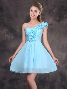 One Shoulder Sleeveless Zipper Quinceanera Court of Honor Dress Baby Blue Chiffon
