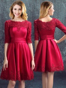 High Quality Wine Red Zipper Damas Dress Lace Half Sleeves Mini Length