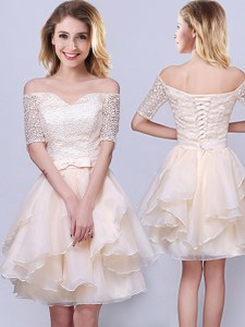Enchanting Off the Shoulder Champagne Organza Lace Up Damas Dress Short Sleeves Mini Length Lace and Ruffles and Belt
