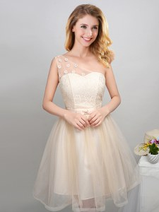 One Shoulder Lace and Appliques and Belt Court Dresses for Sweet 16 Champagne Lace Up Sleeveless Mini Length