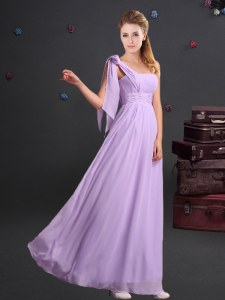 Hot Sale One Shoulder Sleeveless Chiffon Floor Length Zipper Dama Dress in Lavender with Ruching