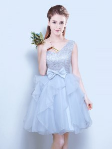 Custom Made Grey Court Dresses for Sweet 16 Prom and Party and Wedding Party and For with Lace and Ruffles and Bowknot One Shoulder Sleeveless Lace Up