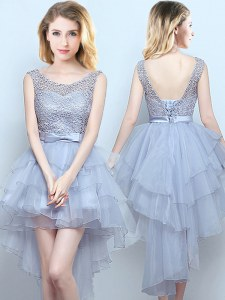 Simple Grey A-line Organza and Lace Scoop Sleeveless Lace and Ruffles and Belt High Low Lace Up Court Dresses for Sweet 16