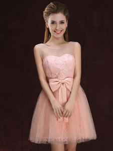 Scoop Sleeveless Bridesmaid Dress Mini Length Lace and Bowknot Peach Tulle and Lace