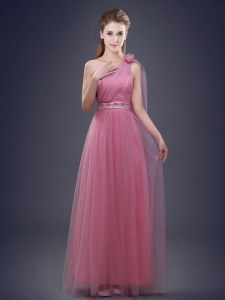 Pink One Shoulder Neckline Beading and Ruching and Hand Made Flower Dama Dress for Quinceanera Sleeveless Lace Up