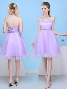 Noble Lavender Tulle Lace Up Bridesmaid Dresses Sleeveless Knee Length Bowknot