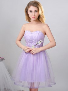 Sweetheart Sleeveless Dama Dress for Quinceanera Knee Length Beading Lavender Tulle