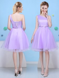 One Shoulder Knee Length Lace Up Quinceanera Court of Honor Dress Lavender for Prom and Party with Bowknot