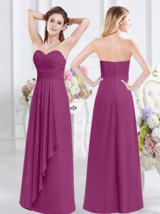 Most Popular Fuchsia Sleeveless Ruching Floor Length Bridesmaid Dresses