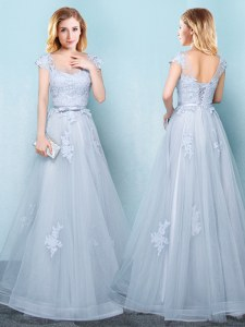 Scoop Light Blue Tulle Lace Up Dama Dress Cap Sleeves Floor Length Appliques and Belt