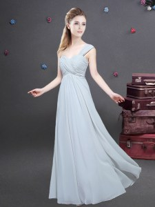 Enchanting One Shoulder Sleeveless Chiffon Quinceanera Court Dresses Ruching Zipper