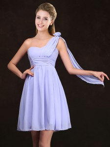 One Shoulder Sleeveless Mini Length Ruching and Hand Made Flower Zipper Bridesmaid Gown with Lavender