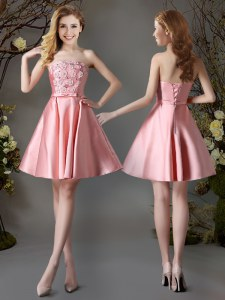 Sleeveless Lace Up Mini Length Appliques and Bowknot Dama Dress for Quinceanera