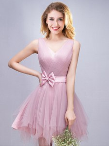 Pink Lace Up V-neck Ruffles and Ruching and Bowknot Damas Dress Tulle Sleeveless