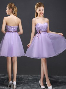Lavender Sleeveless Organza Lace Up Bridesmaid Gown for Prom and Party and Wedding Party