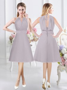 Exquisite Halter Top Sleeveless Zipper Knee Length Lace and Ruching Bridesmaid Dresses
