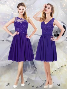 Scoop See Through Purple Scalloped Zipper Lace and Appliques Damas Dress Sleeveless