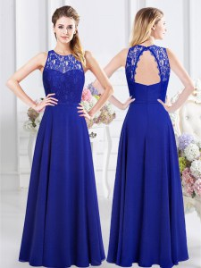 Beautiful Scoop Royal Blue Empire Lace Dama Dress Backless Chiffon Sleeveless Floor Length