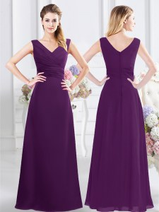 Purple Dama Dress for Quinceanera Prom and Party and Wedding Party and For with Ruching V-neck Sleeveless Zipper