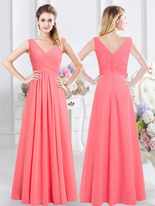 Watermelon Red Empire Chiffon Sleeveless Ruching Floor Length Zipper Wedding Guest Dresses