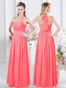 Modern Chiffon Halter Top Sleeveless Zipper Ruching Dama Dress for Quinceanera in Watermelon Red