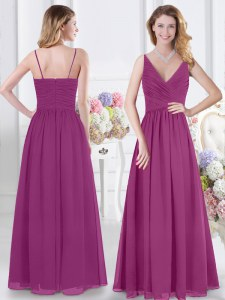 Vintage Sleeveless Floor Length Ruching Zipper Vestidos de Damas with Fuchsia