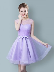Popular Scoop Sleeveless Damas Dress Knee Length Ruching and Bowknot Lavender Tulle