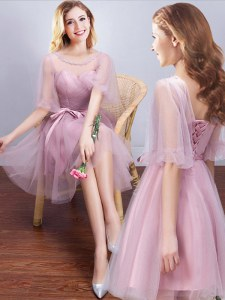 A-line Damas Dress Pink Scoop Tulle Half Sleeves Mini Length Lace Up