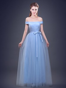 Off the Shoulder Tulle Sleeveless Floor Length Bridesmaid Gown and Ruching and Bowknot