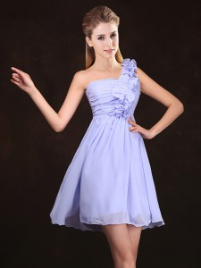 Decent One Shoulder Mini Length Zipper Bridesmaid Dresses Lavender for Prom and Party and Wedding Party with Ruffles and Ruching
