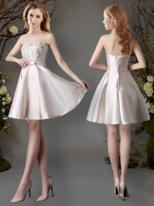 Satin Sleeveless Mini Length Quinceanera Court of Honor Dress and Appliques and Bowknot