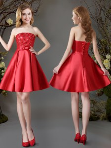 Red Sleeveless Appliques and Bowknot Mini Length Dama Dress