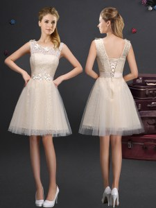 Lovely Scoop Mini Length Champagne Bridesmaids Dress Tulle Sleeveless Lace and Appliques and Belt