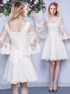Scoop Knee Length White Quinceanera Dama Dress Tulle 3 4 Length Sleeve Lace