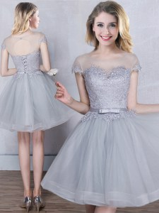 Beautiful Scoop Grey Short Sleeves Tulle Lace Up Wedding Party Dress for Prom and Party and Wedding Party