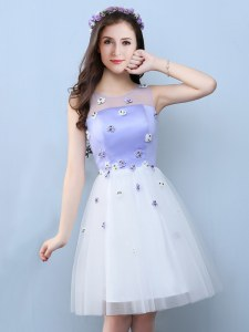 Eye-catching Scoop Sleeveless Dama Dress Knee Length Appliques White Tulle