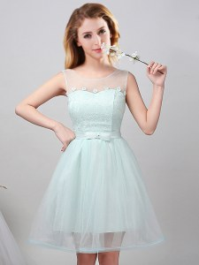 Delicate Mini Length Apple Green Dama Dress for Quinceanera Scoop Sleeveless Lace Up