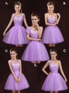 Modern Scoop Mini Length A-line Sleeveless Lilac Court Dresses for Sweet 16 Lace Up