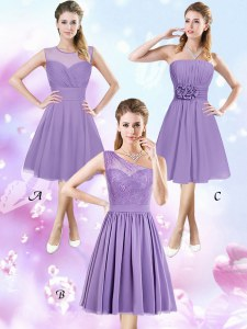 On Sale Scoop Lavender Sleeveless Lace and Ruching and Hand Made Flower Knee Length Vestidos de Damas