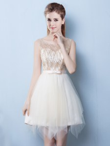 Popular Scoop Tulle Sleeveless Asymmetrical Wedding Guest Dresses and Sequins and Bowknot