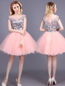 Super Pink A-line Sequins Bridesmaids Dress Zipper Tulle Short Sleeves Mini Length