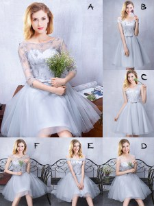 Grey A-line Scoop Sleeveless Tulle Knee Length Lace Up Lace and Appliques and Belt Quinceanera Dama Dress