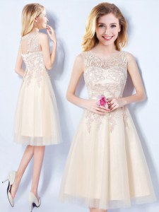 Captivating Scoop Sleeveless Knee Length Appliques Lace Up Dama Dress with Champagne